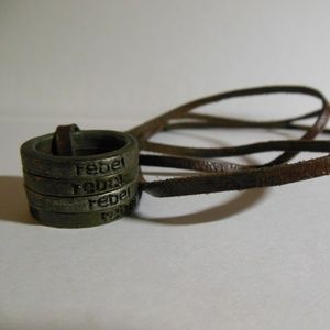 Other - Brown leather necklace with 4 rings